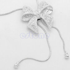 Fashion Crystal Bowknot Pendant Necklace Rhinestone Butterfly Long Sweater Chain