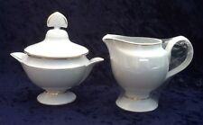 Lalique Damasse Sugar Bowl & Creamer W Gold Trim - NIB