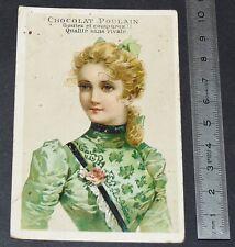 CHROMO CHOCOLAT POULAIN 1890-1910 JEUNE FEMME
