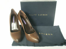 NEW RALPH LAUREN Ladies BENITA Brown Leather Court Shoes UK 6.5 EU 39.5 £475