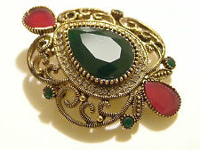 Ottoman Gems Faux Emerald Antique gold ethnic Brooch,Turkish handmade Brooch