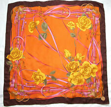 """Authentic MANTERO VIII Collection ROSES Floral Gold Orange Brown 36"""" Silk Scarf"""