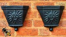 2 Garden Flower Planter Wall Fence Rain Water Hopper Sun Face Tub Pot New