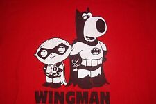 Family Guy Wingman Batman & Robin Stewie T-Shirt Mens Womens S hole stains