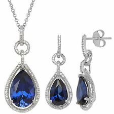 Lab Created Sapphire and Diamond Pendant and Earring Set in Sterling Silver