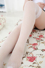 Women Sexy whte Fishnet NET Lace High Thigh Over Knees Pantyhose Tights Socks