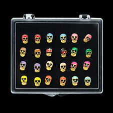 Wholesale Lots 24pcs 18k Yellow Gold Plated Punk Mini Skull Women Studs Earrings