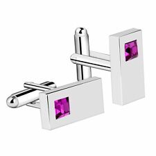 Purple Mens Cufflinks Diamond Crystal Rectangle Silver Plated Suit Cuff Links