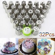 NEW! 32Pcs Russian Tulip Icing Piping Nozzle Set Cake Cupcake Decoration Tips