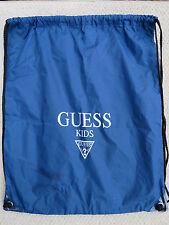 "Guess Kids Navy Blue Drawstring Gym Sack Tote Workout Exercise Bag  16"" x 20"""