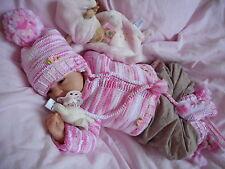 Garnitur Ausfahr Strick Baby Garnitur 49/56 Reborn Baby neu