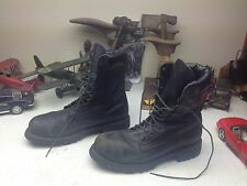 DISTRESSED FIREFIGHTER USA BLACK LEATHER LACE UP STEEL TOE BOSS WORK BOOTS 10 D