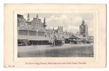 India postcard Calcutta Sir Stuart Hogg Market New Extension and Clock Tower