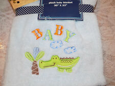 CARTER'S BLANKET ALLIGATOR BABY WATCH THE WEAR BLUE ALL PURPOSE CROCODILE BOY