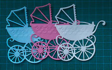 12 baby pram cart card topper Marianne Design paper die cuts white blue pink