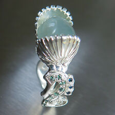 9.60cts Natural Cat's eye Aquamarine &Alexandrite Sterling 925 non tarnish ring