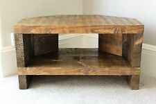 Rustic Handcrafted Chunky Reclaimed corner TV Unit stand In Walnut Stain