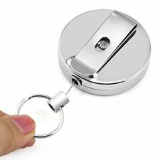 2x Retractable Key Chain Steel Recoil Key Ring Belt Clip Pull Metal ski Holder