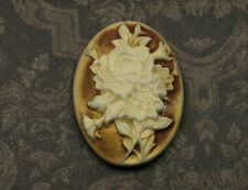 1x Resin Cameo Blumen Cabochon oval 22x30mm braun tm071