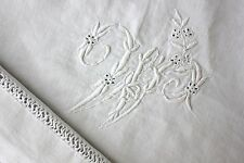 Antique hemp French sheet linen FINELY woven 77X118 W or M white monogram