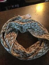 "NEW Michael Kors Stamped MK Tan/White Infinity Scarf - 68"" x 10"" - 535424C"