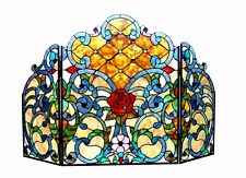 """NEW 3 Section Stained Glass Colorful Victorian Design Fireplace Screen 44"""" x 28"""""""