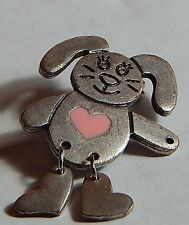 VINTAGE BUNNY RABBIT PINK HEART ARTICULATED LEGS SILVERTONE
