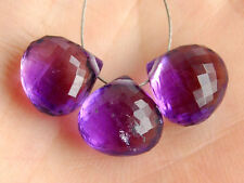 Natural Dark Purple African Amethyst Faceted Heart Briolette Gemstone Beads 006