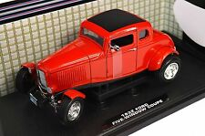 FORD 1932 MODEL A 5 WINDOW COUPE HOT ROD RED 1:18 MOTORMAX 73171
