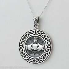 Celtic Claddagh Necklace - 925 Sterling Silver - Love Loyalty Friendship Irish