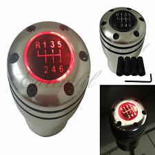 Manual Stick JDM Shift Knob Red LED Light M/T Gear Sport Silver Base #e35 Auto