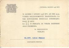 FASCISMO INVITO ALLA INAUGURAZIONE XXI BIENNALE DI VENEZIA FREDDI FUTURISMO 1938