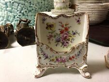 Antique Dresden Porcelain Hand Painted Signed Floral Letter Holder