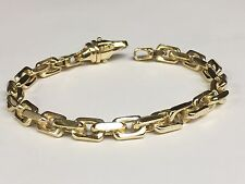 "10KT Solid Gold Handmade Link Men's chain/Bracelet 9.5"" 35 grams 6.5MM"