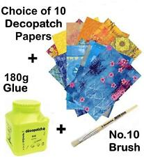 Decopatch Kit 1 Choose 10 Full Papers, 180g Glue, Brush
