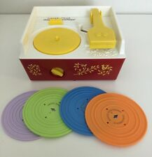 2010 FISHER PRICE MUSIC BOX RECORD PLAYER PHONOGRAPH WITH 4 RECORDS