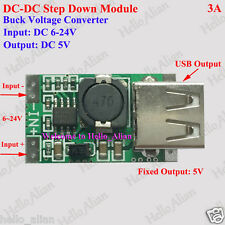 USB DC-DC Buck Step Down Converter Regulator 6V-24V to 5V 3A Power Supply Module