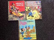 3 X Little Golden Book Walt Disney Mickey Mouse Pluto  H/C  Vintage 1973  lovely