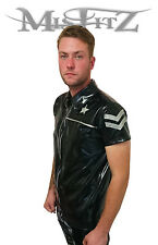 MISFITZ BLACK / SILVER RUBBER LATEX SHERIFF  SHIRT SIZES S,M,L,XXL, XXXL,XXXXL