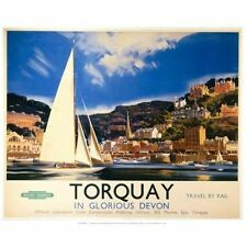Torquay, Glorious Devon, Seaside Harbour, Railway, Small Metal/Tin Sign, Picture