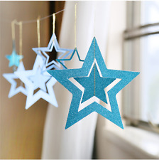 7PCs/1Set Paper Hollow Stars Card Charms Garland Home Decoration (BLUE)