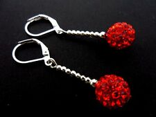 A PAIR OF PRETTY 10MM SHAMBALLA STYLE RED DROP LEVERBACK HOOK EARRINGS. NEW.
