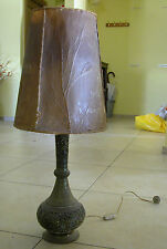 AN OLD COPPER OR BRASS MIDDLE EASTERN LAMP AND SHADE