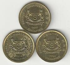 3 DIFFERENT 5 CENT COINS from SINGAPORE (2007, 2010 & 2011)