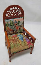 Dollhouse Miniature Antique Austrian Petit Point Wooden Chair (ref: Chair 2)