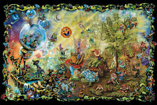 psychedelic Cannabis fairies magic mushrooms childhood paint large Poster Print