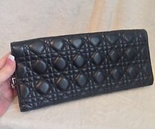 "Christian Dior Black Leather ""DIOR Charms"" Clutch Evening Bag Handbag"