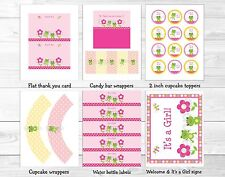 Girl Frog Dragonfly Garden Printable Baby Shower Party Package