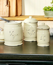 Set Of 3 Ceramic Canisters Embossed Sugar Coffee Tea Kitchen Organization White