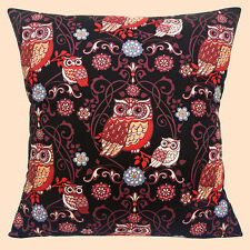 """NEW RETRO NOVELTY LARGE SMALL & FLOWERS OWLS ON BLACK 16"""" Pillow Cushion Cover"""